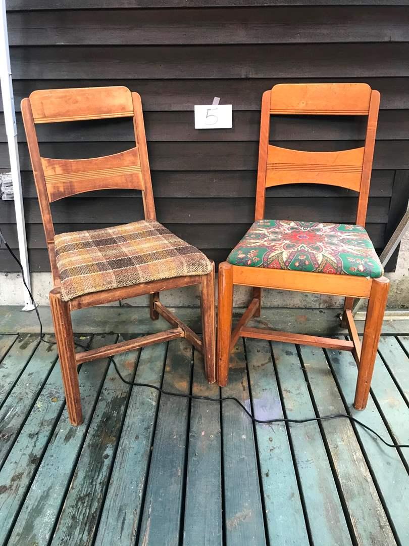 "Lot # 5 - 2 Vintage Wood Chairs - 34.5""t x 18.5""w x 19""d. (main image)"