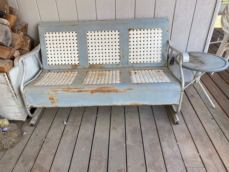 Lot # 289 - Vintage Aluminum Bench w/Side Table  (main image)