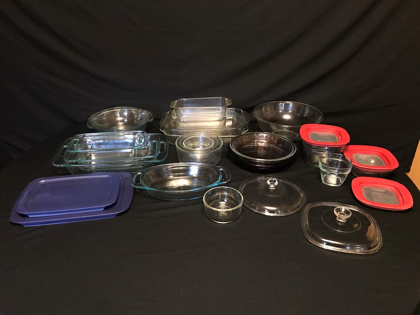 Lot # 50 - Large Lot of Pyrex: Mixing Bowls, Casserole Dishes, Pie Plates, Misc. Lids & Other Misc. Glass Items (main image)