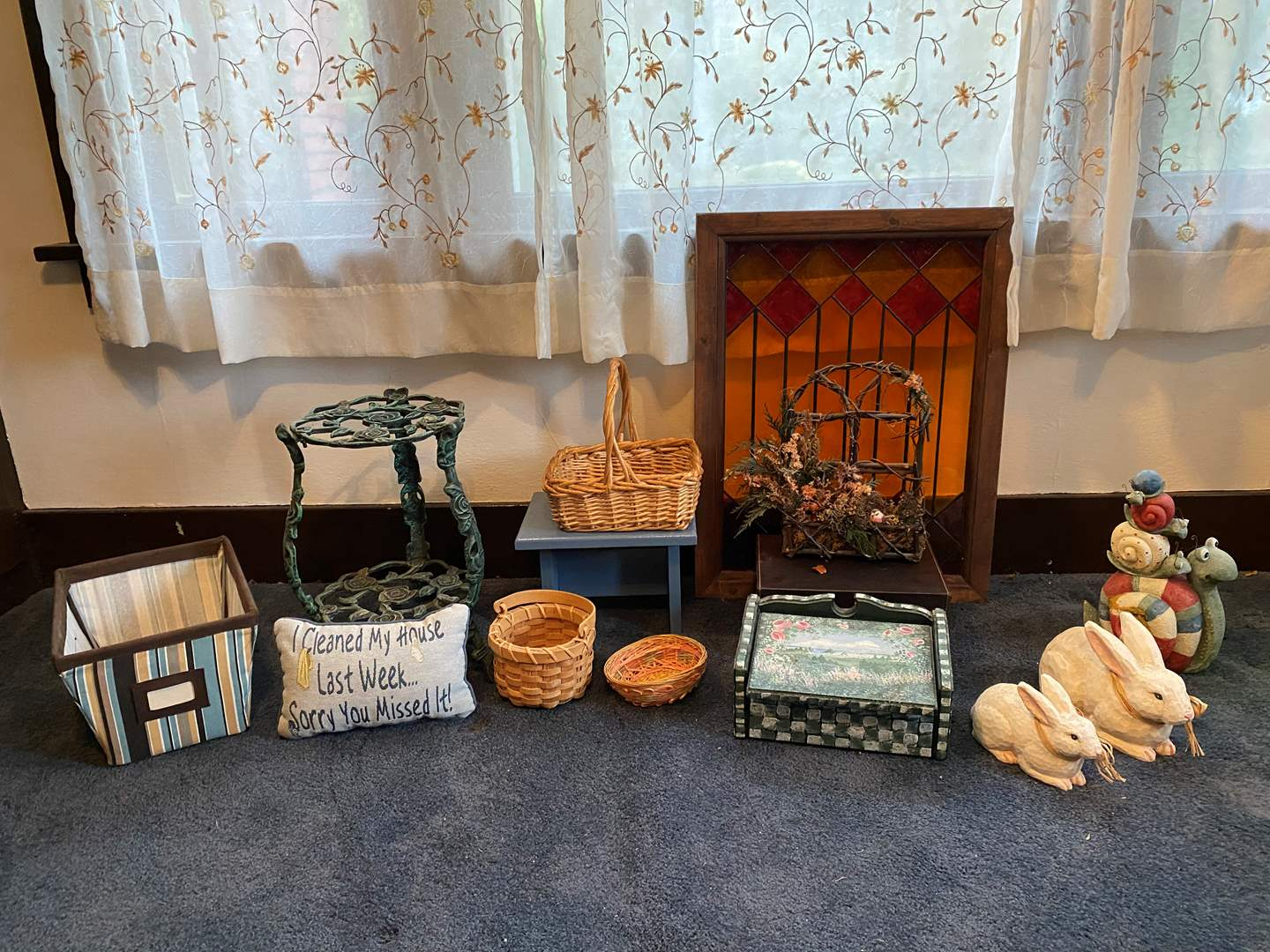 Lot # 20 - Home Decor: Stained Glass Window Hanging, Cast Iron Plant Stand, Baskets & More.. (main image)