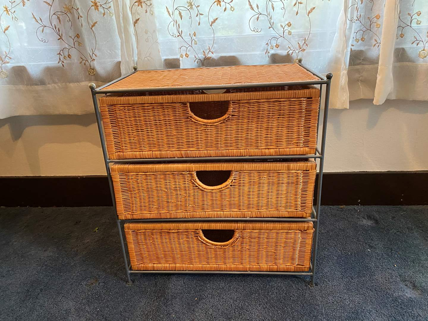 Lot # 22 - Metal & Wicker 3 Drawer Storage/Dresser (main image)