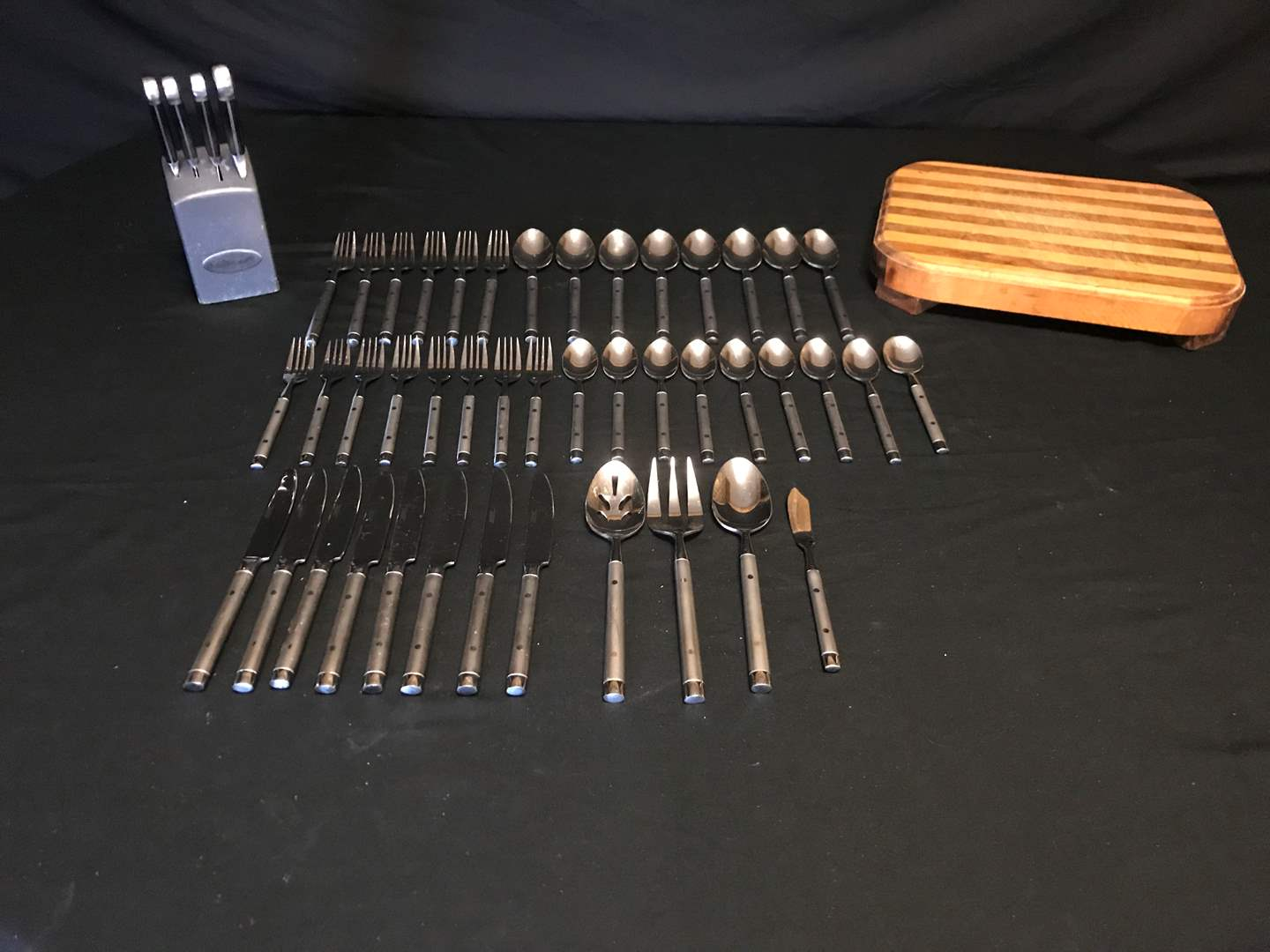 Lot # 60 - Selection of Cambridge Flatware, Cuisinart Knives & Cutting Board (main image)