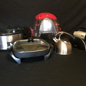 Auction Thumbnail for: Lot # 65 - Sunbeam Hand Mixer, Westbend Electric Frying Pan, Hamilton Bech Popcorn Maker, Crock Pot & Tea Kettle