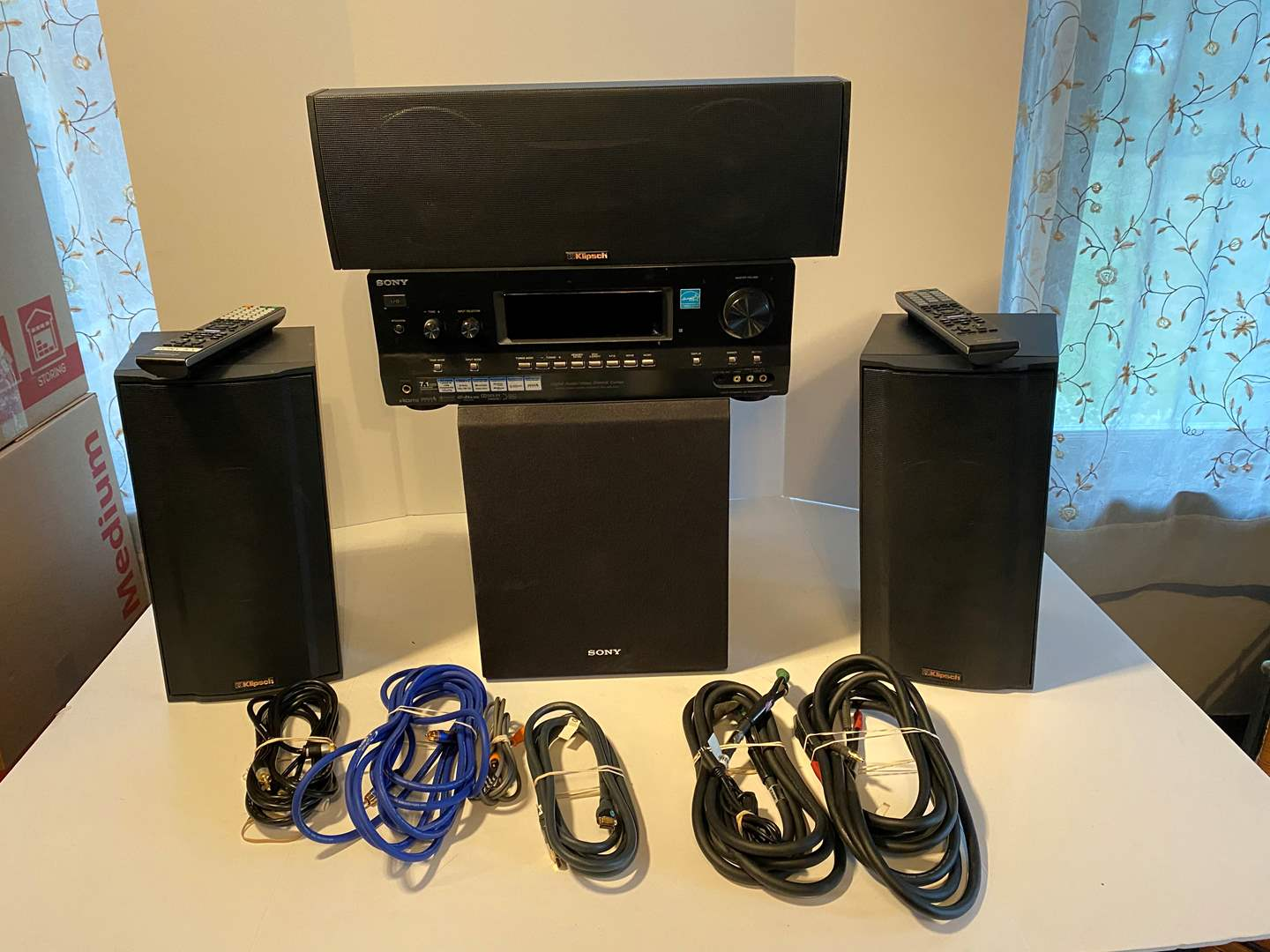Lot # 37 - Sony Multi Channel Receiver, Sony Sub Woofer, Three Klipsch Speakers - All Work Great (main image)