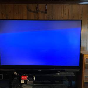 """Auction Thumbnail for: Lot # 38 - Mitsubishi WD-82837 82"""" Rear Projection 3D Capable TV w/Glasses"""