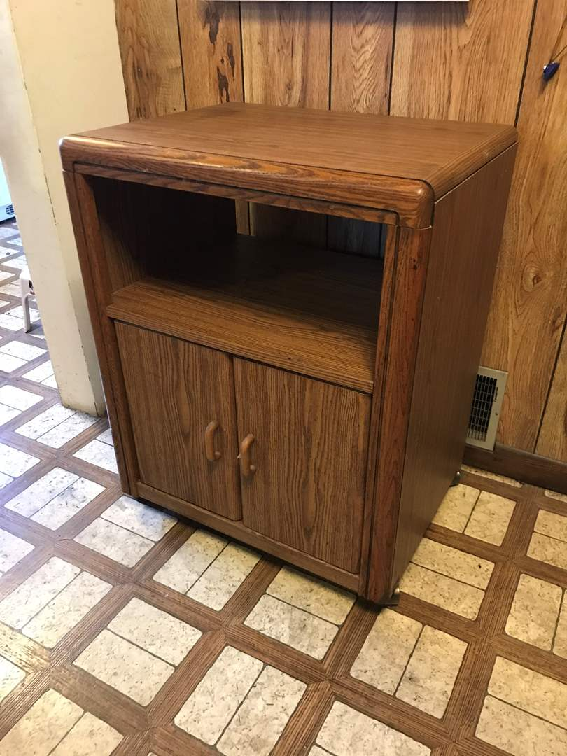 Lot # 72 - Wood Cabinet on Casters  (main image)