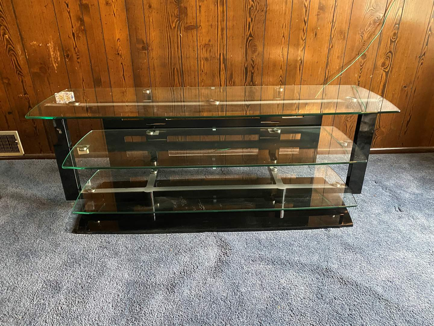 Lot # 39 - Large BDI Metal & Glass Media Stand - Heavy  (main image)