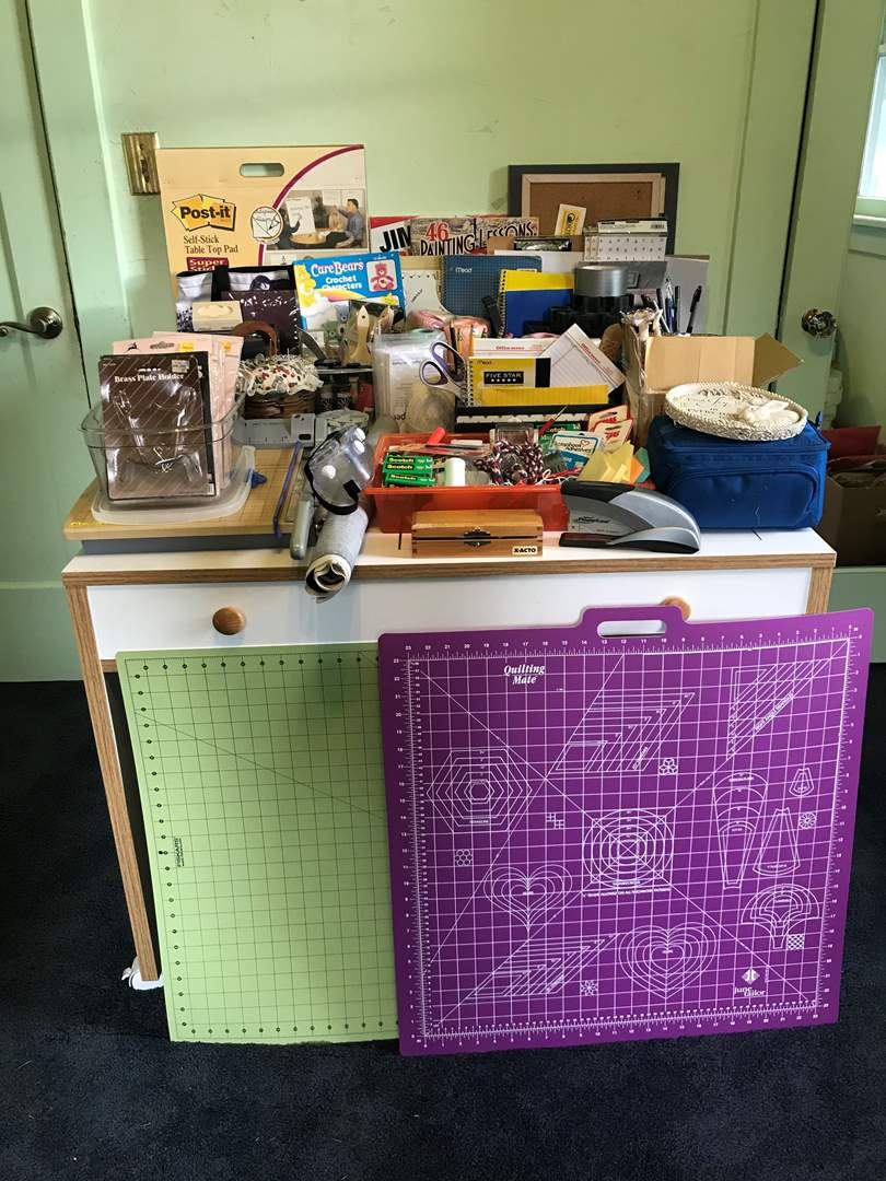 Lot # 73 - Large Selection of Crafting Supplies: Paper Cutter, Thread, Organizers, Paints, Brushes, Books & More.. (main image)