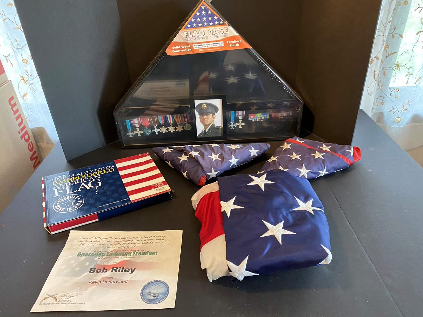 Lot # 96 - Military Flag Holder & Flags (main image)