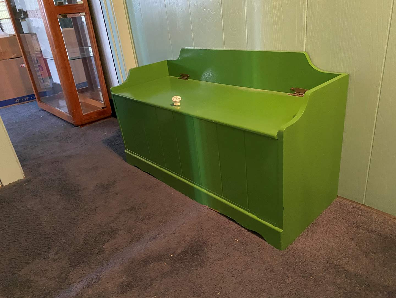 Lot # 104 - Green Wood Storage Chest (main image)
