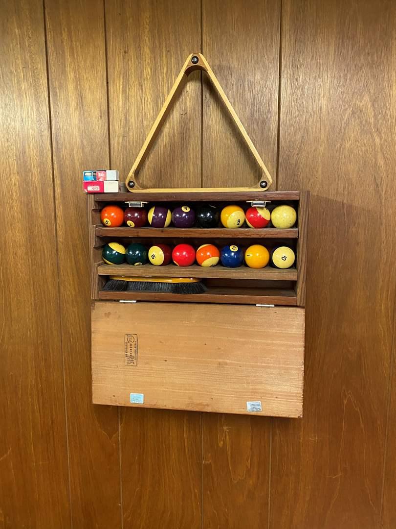 Lot # 111 - Vintage Billard Balls w/Rack (main image)