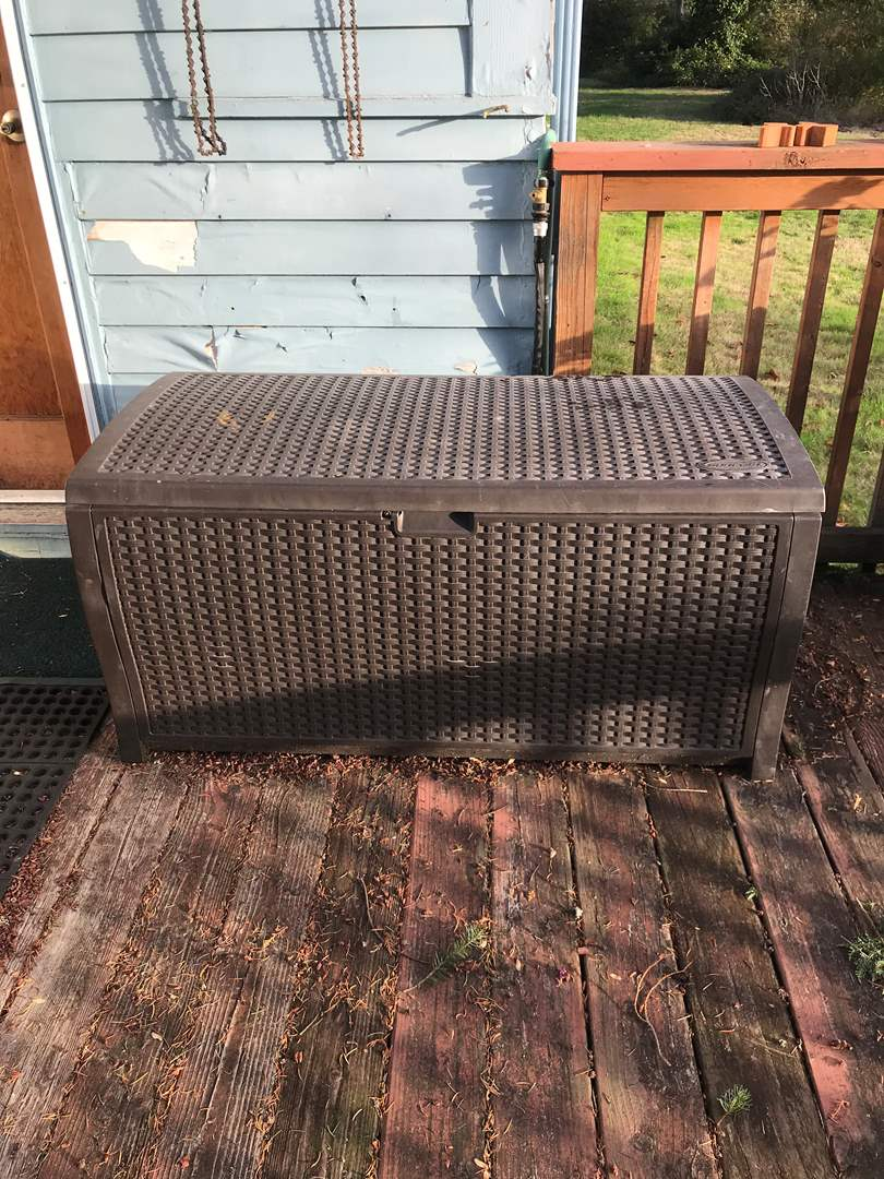 Lot # 137 - One Large Suncast Storage Bin w/Contents Included  (main image)
