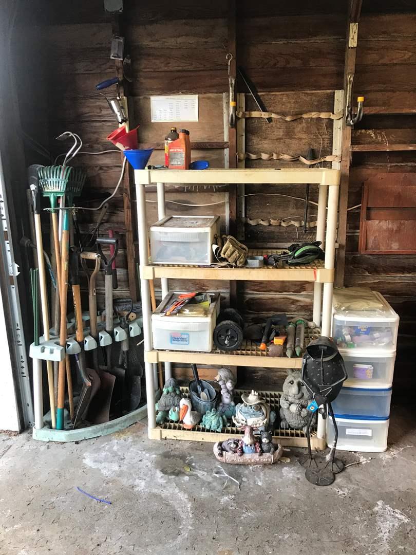 Lot # 143 - Gardening Tools & Rack, Shelving Unit w/Yard Art, Gloves, Hand Tools & Bin of Model Car Paints (main image)