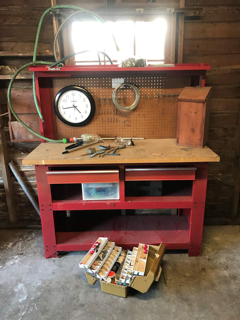 Lot # 144 - Metal Work Bench, Some Tools, Sprinklers, Tackle Box & More.. (main image)