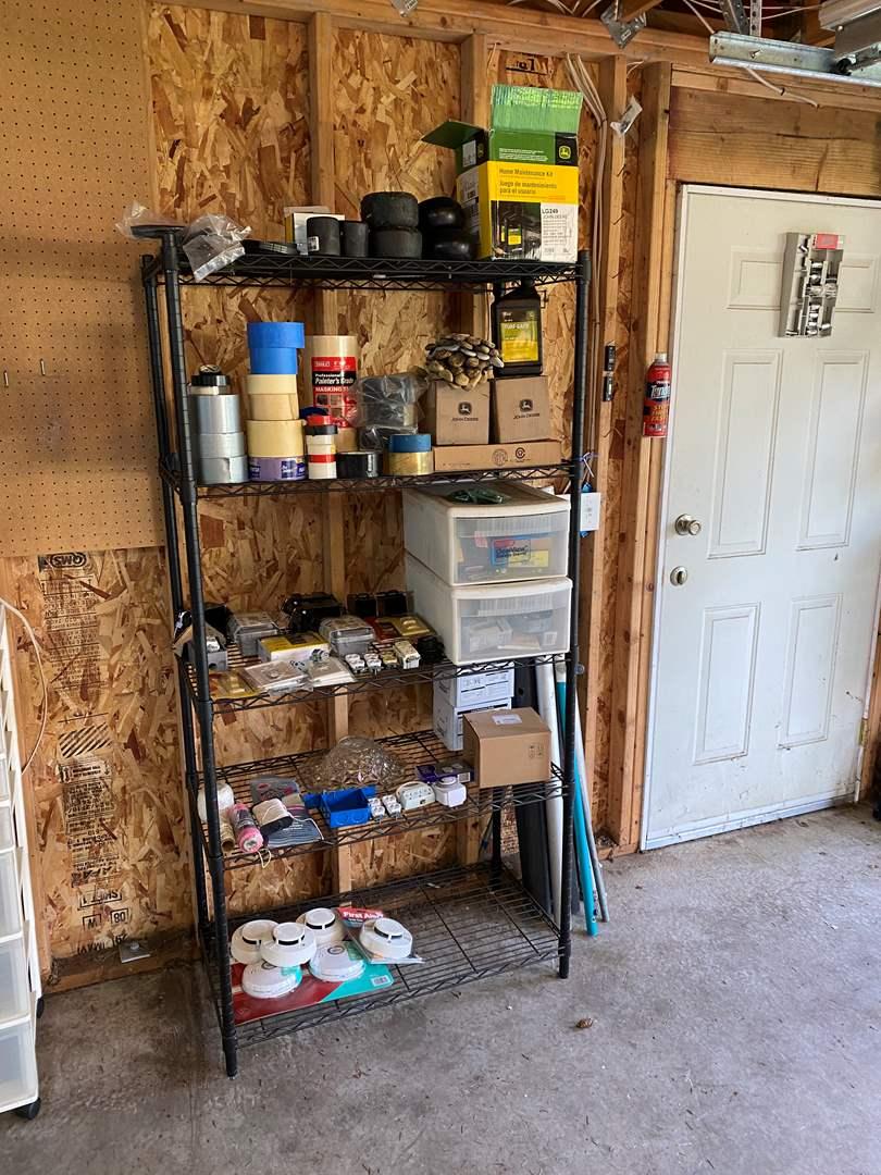 Lot # 165 - Metal Rack Filled w/John Deere Parts, Tape, Electrical Hardware, Smoke Detectors & More.. (main image)