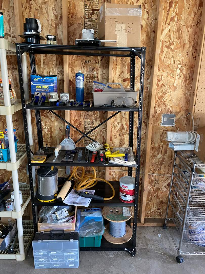 Lot # 167 - Metal Shelf Filled w/Hardware & Tools: Tile Cutter, Tile, Velcro, Screws, Wagner Power Painter & More.. (main image)