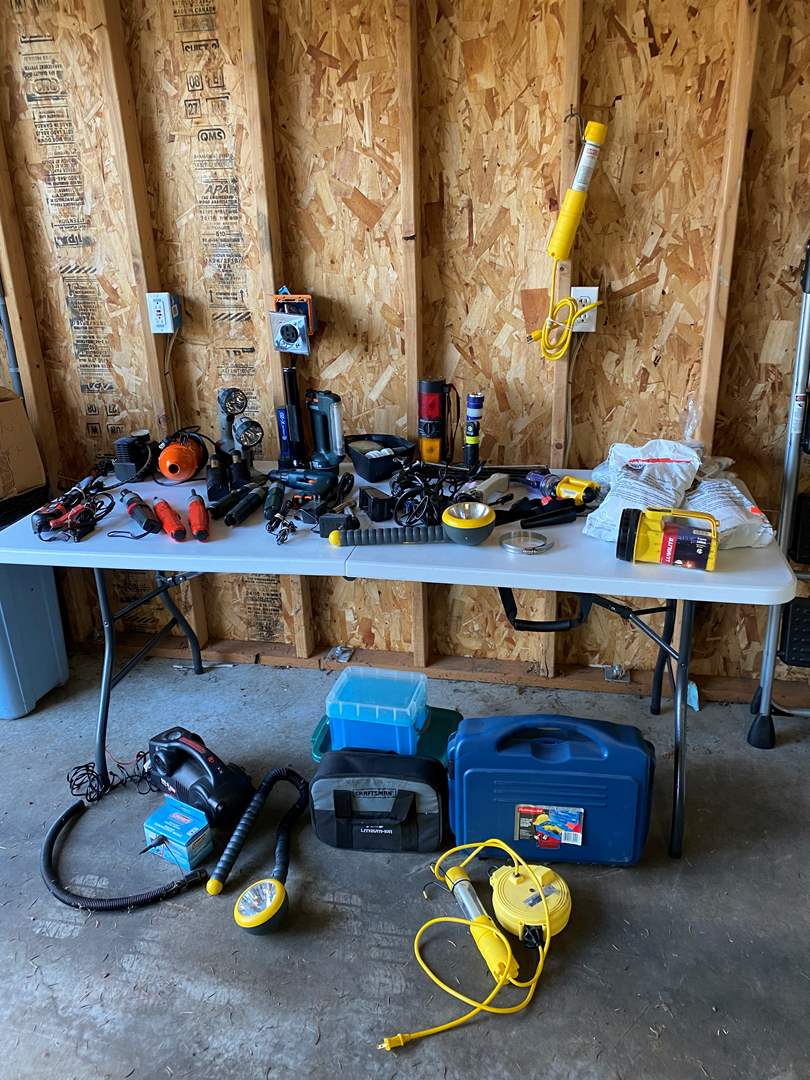 Lot # 172 - Cordless Screw Drivers, Cordless Drills, Small Air Compressor, New Respirators & Filters, Lights & More.. (main image)