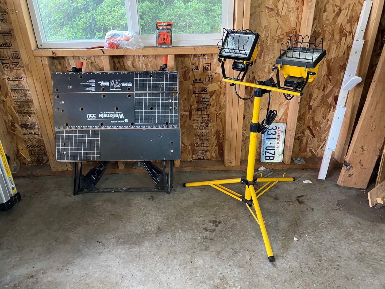 Lot # 188 - Adjustable Work Light, Black & Decker Workmate 550 Folding Work Station (main image)