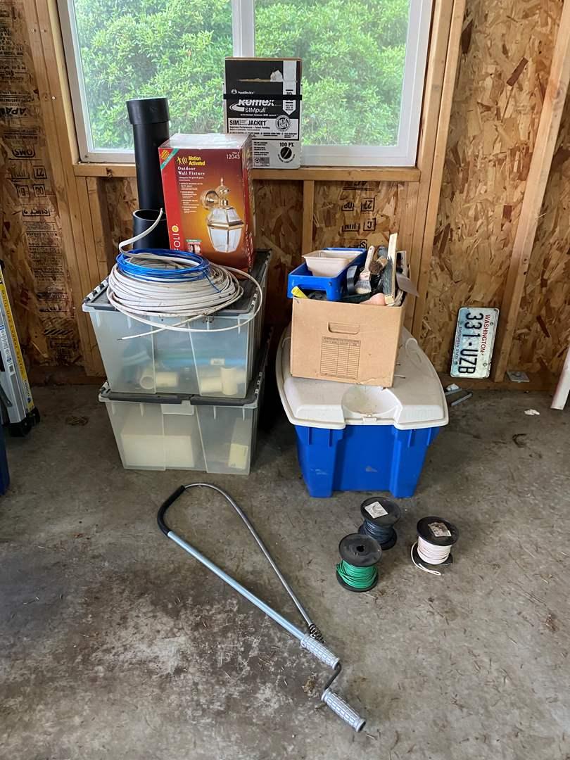 Lot # 190 - Bins Full of Electrical, Painting & Plumbing Items (main image)