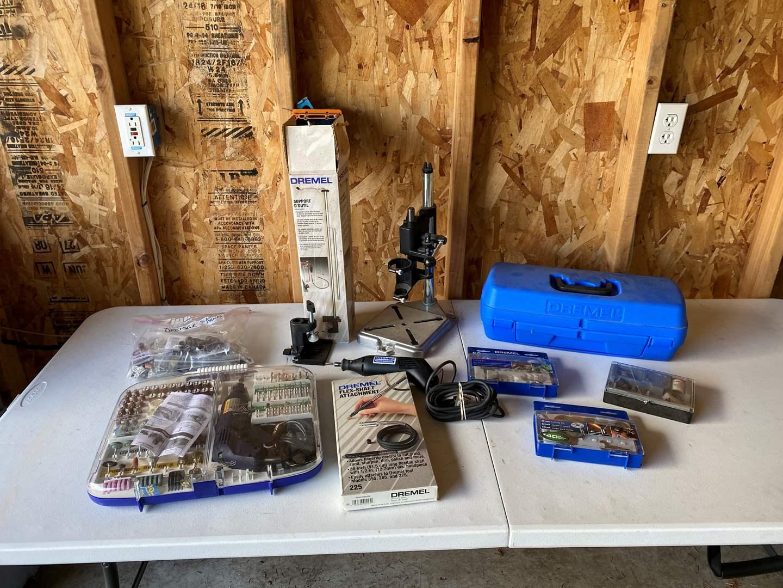 Lot # 196 - Dremel Professional, Dremel Multi Pro Kit, Dremel Flex Shaft Holder, Dremel Drill Press Stand & More.. (main image)