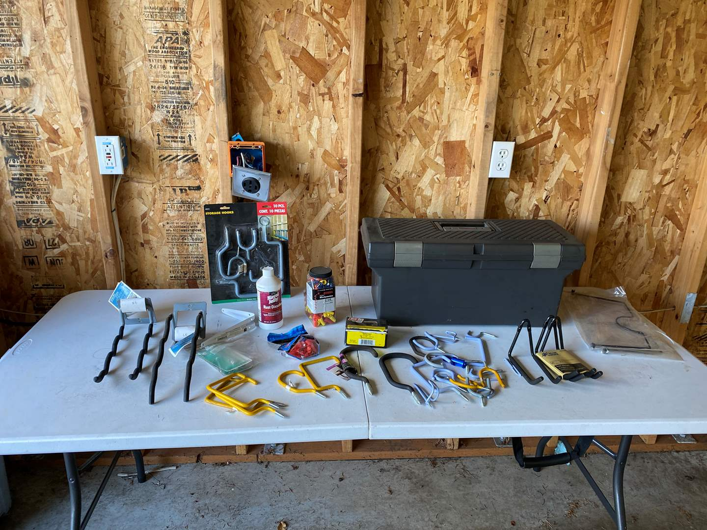 Lot # 216 - Rubbermaid Tool Box, Storage Hooks, Wire Connectors, Nails & More.. (main image)