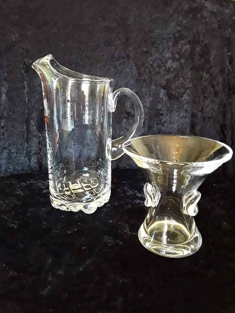 "Lot # 31 - 2 Pieces Signed Crystal: Orrefors Pitcher (w/original box), 5"" Steuben Trumpet Vase  (main image)"