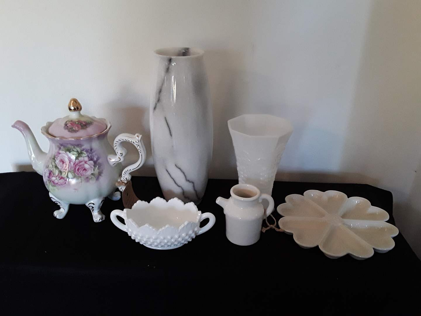 Lot # 32 - Lot of (6) Porcelain, Marble and Milkglass Pieces  (main image)