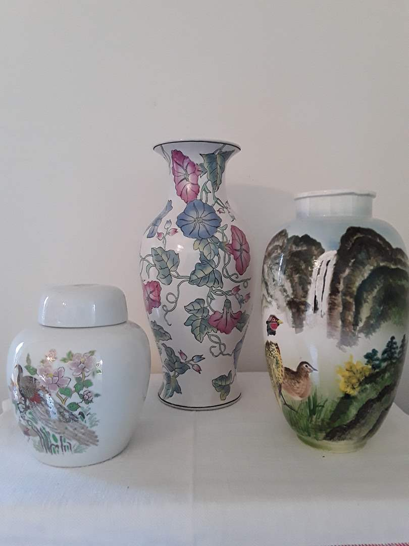 Lot # 46 - Lot of (2) Asian Vases and (1) Ginger Jar (main image)
