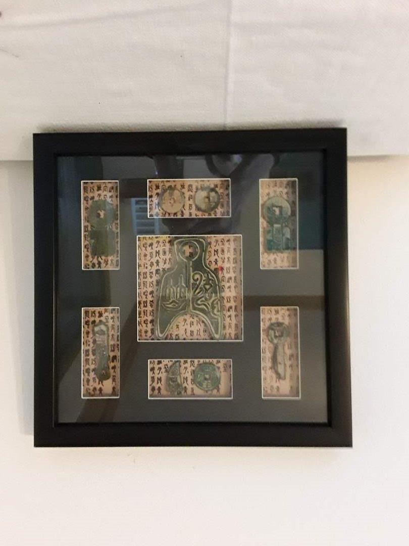 Lot # 62 - Framed Asian Coins and Metal Folk Art  (main image)