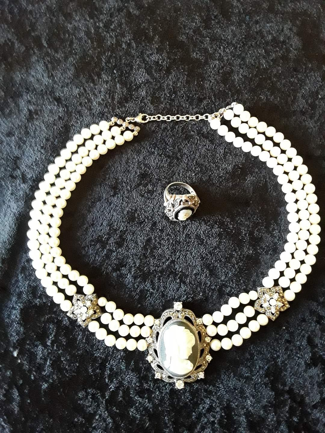 Lot # 72 - Lot of (2) Pieces Sterling w/Pearls Cameo Jewelry (main image)