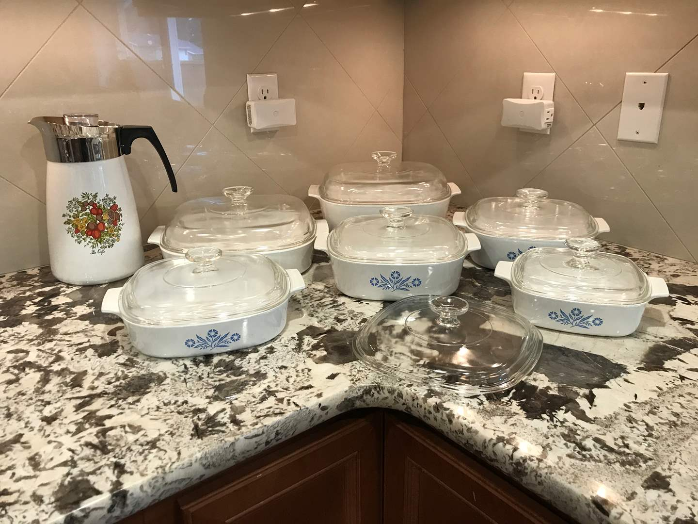 Lot # 51 - Beautiful Set of Corning Ware Baking Dishes of Various Sizes & Coffee Percolator  (main image)
