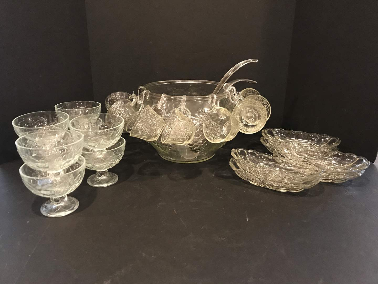 Lot # 54 - Large Glass Punch Bowl & Glass Serving Dishes (main image)