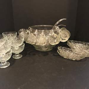Lot # 54 - Large Glass Punch Bowl & Glass Serving Dishes