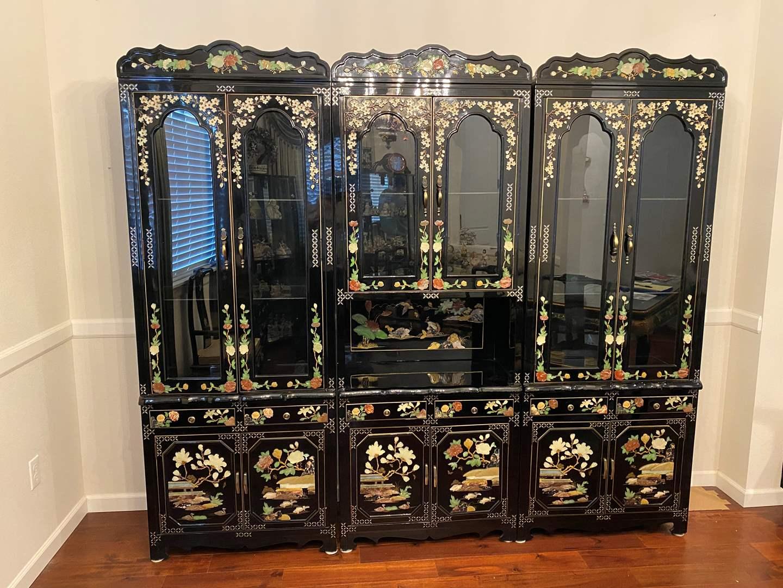 Lot # 1 - Beautiful Ornate 3-Piece Asian Black Lacquered Wall Unit (main image)