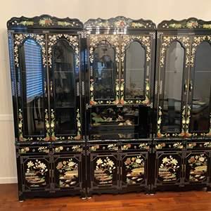 Lot # 1 - Beautiful Ornate 3-Piece Asian Black Lacquered Wall Unit