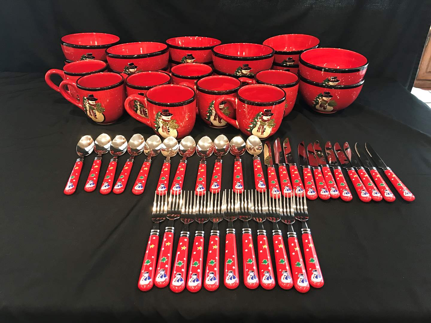Lot # 56 - Cute Lot of Gibson Christmas Bowls, Mugs & Flatware (main image)