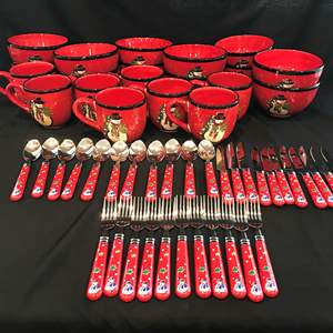 Lot # 56 - Cute Lot of Gibson Christmas Bowls, Mugs & Flatware