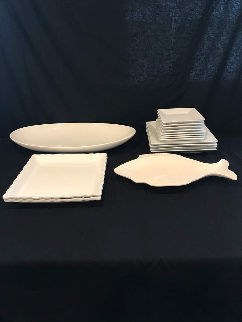 Lot # 57 - White Dinner Plates & Serving Dishes (main image)
