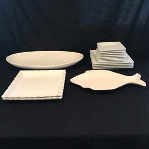 Lot # 57 - White Dinner Plates & Serving Dishes