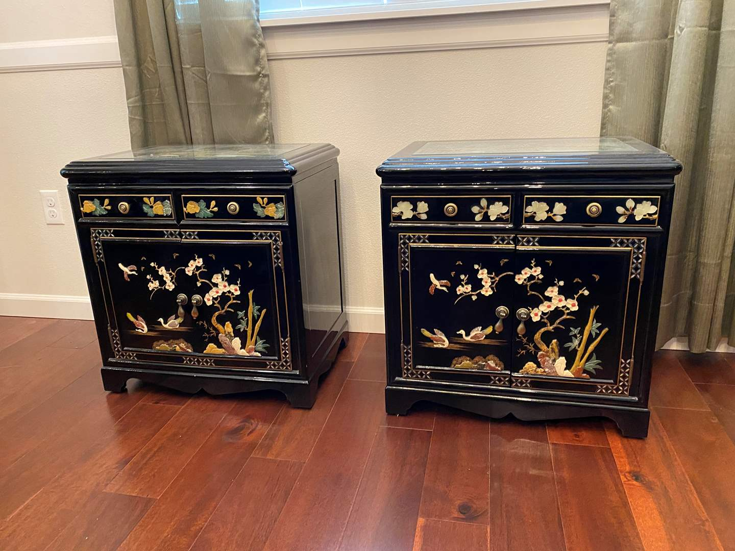 Lot # 4 - Two Beautiful Ornate Black Lacquered Side Tables  (main image)