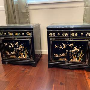 Lot # 4 - Two Beautiful Ornate Black Lacquered Side Tables