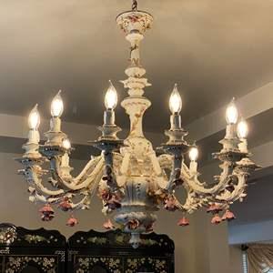 Auction Thumbnail for: Lot # 9 - Beautiful Large Capodimonte Porcelain Chandelier