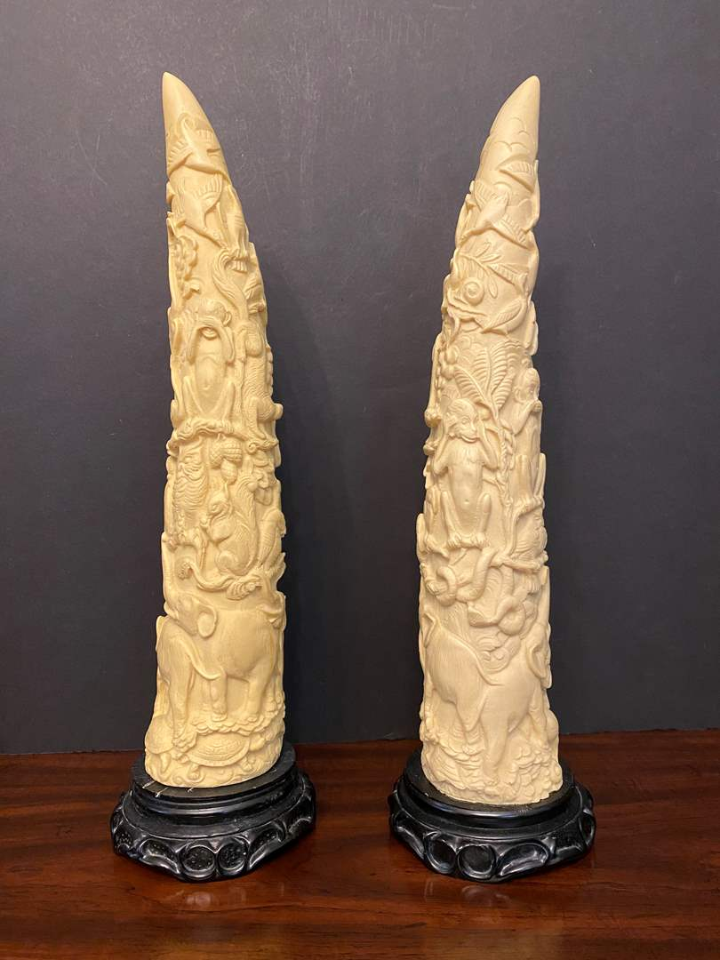 """Lot # 10 - Two Heavy Asian Sculptures - 17.5"""" Tall  (main image)"""