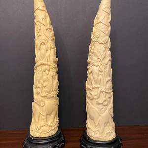 """Lot # 10 - Two Heavy Asian Sculptures - 17.5"""" Tall"""