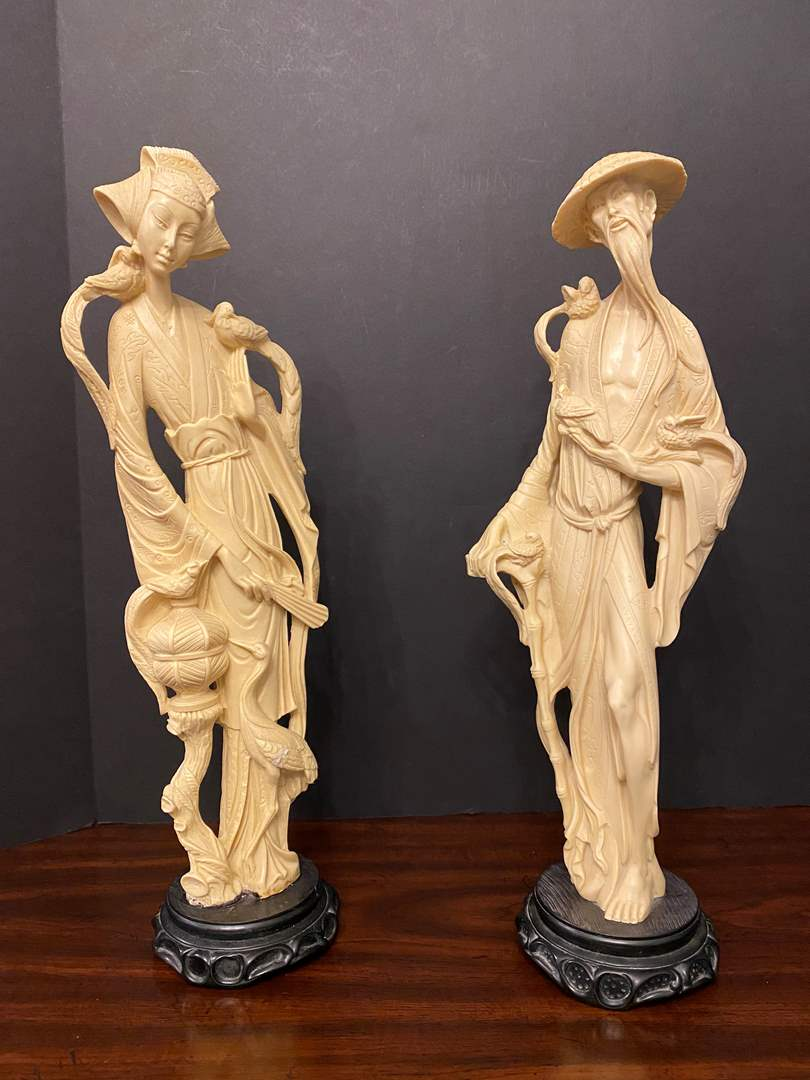 "Lot # 11 - Two Heavy Asian Sculptures - 19"" Tall  (main image)"