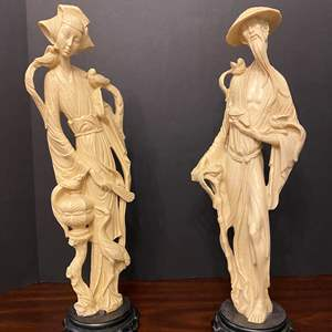 """Lot # 11 - Two Heavy Asian Sculptures - 19"""" Tall"""