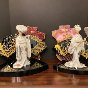"""Lot # 12 - Two """"Seizan"""" Asian Porcelain Figurines w/Stands"""