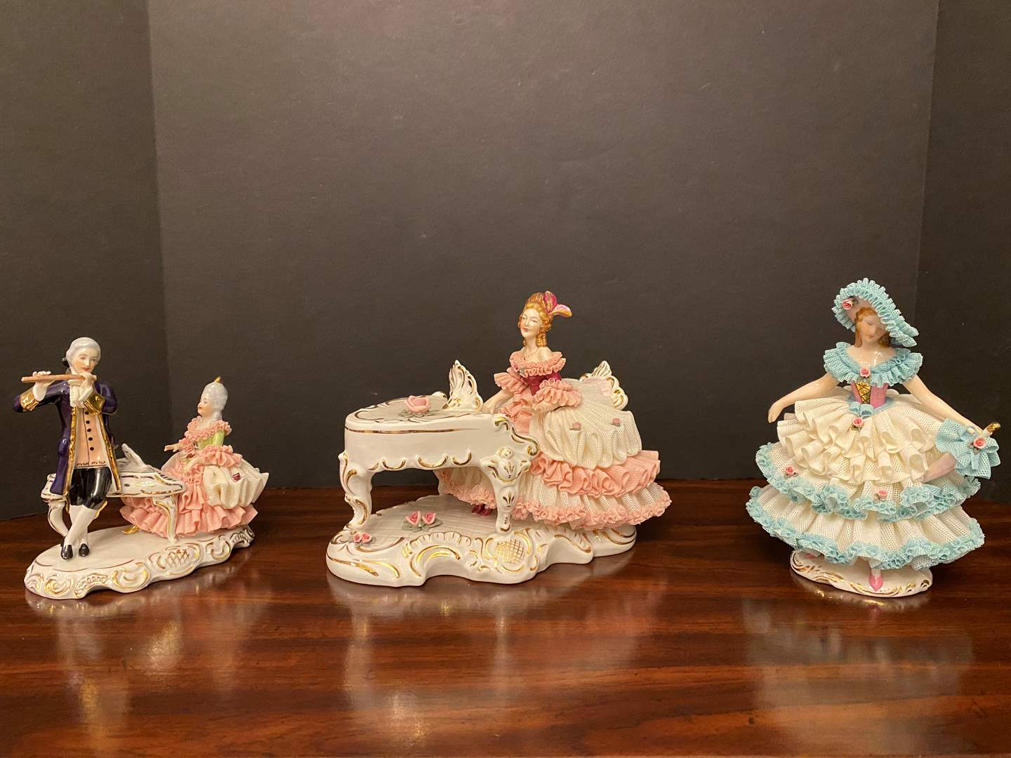 "Lot # 15 - Three Beautiful Vintage ""Dresden"" Porcelain Lace Figurines (main image)"