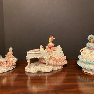 """Lot # 15 - Three Beautiful Vintage """"Dresden"""" Porcelain Lace Figurines"""