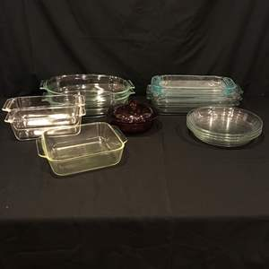 Lot # 62 - Nice Lot of Pyrex Baking Dishes, Pie Plates, Bread, Casserole & Vision Casserole